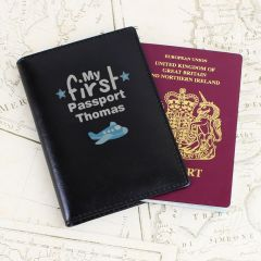 Personalised My First Black Design Passport Holder