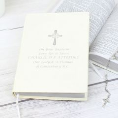 Personalised Holy Bible Silver Writing