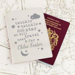 Personalised Twinkle Twinkle Cream Design Passport Holder