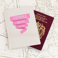 Personalised Pink Banner Cream Design Passport Holder