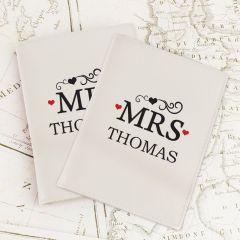 Personalised Mr & Mrs Cream Design Passport Holders