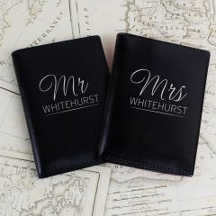 Personalised Mr & Mrs Black Design Passport Holders