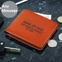 Personalised Classic Tan Brown Leather Wallet