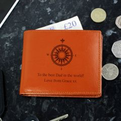 Personalised Compass Tan Brown Leather Wallet