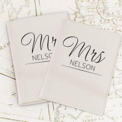 Personalised Classic Mr & Mrs Cream Design Passport Holders