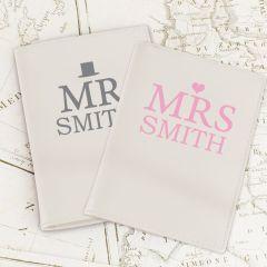 Personalised Mr & Mrs Top Hat Cream Design Passport Holders