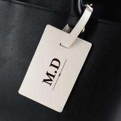 Personalised Classic Design Initials Cream Luggage Tag