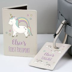 Personalised Baby Unicorn Cream Design Passport Holder & Luggage Tag Set