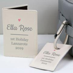 Personalised Pink Heart Cream Design Passport Holder & Luggage Tag Set