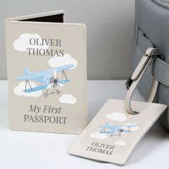 Personalised Blue Plane Design Passport Holder & Luggage Tag Set