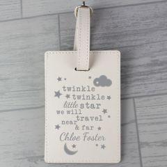 Personalised Twinkle Twinkle Design Cream Luggage Tag