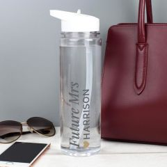 Personalised Gold Heart Design Water Bottle
