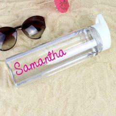 Personalised Pink Name Design Water Bottle