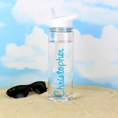 Personalised Blue Name Design Water Bottle