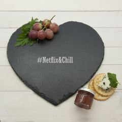 Personalised Romantic Hashtag Heart Slate Cheese Board