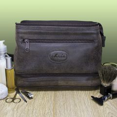 Men's Personalised Expandable Suede Textured Wash Bag