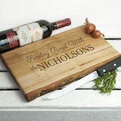 Personalised Sunday Roast Rustic Carving Board