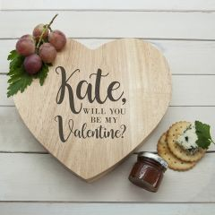 Personalised Be My Valentine Heart Cheese Board & Tools Set