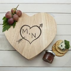 Personalised Carved Heart Cheese Board & Tools Set