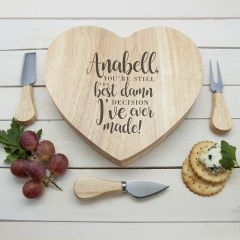 Personalised Best Damn Decision Heart Cheese Board & Tools Set