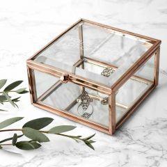 Personalised Rose Gold Glass Trinket Box