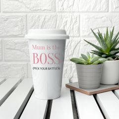 Personalised The Boss Ceramic Travel Mug