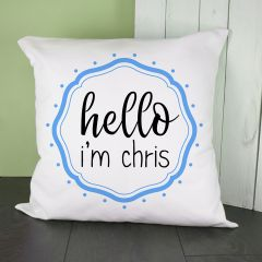 Personalised Hello Baby In Blue Frame Cushion Cover