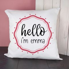 Personalised Hello Baby In Pink Frame Cushion Cover