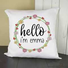 Personalised Floral Frame Cushion Cover