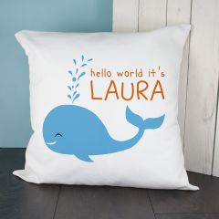 Personalised Hello Whale Cushion Cover