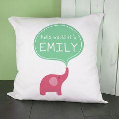 Personalised Hello Baby Elephant Cushion Cover