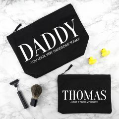 Personalised Daddy & Me Black Wash Bags Sets