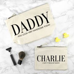 Personalised Daddy & Me Cream Wash Bag Sets