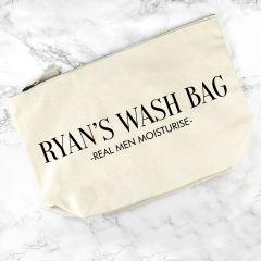 Personalised Men's Cream Wash Bag