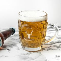 Personalised Stag Design Dimpled Beer Glass