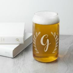Personalised Leaf Framed Can Shaped Glass