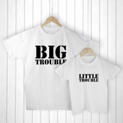 Personalised Bag with Daddy and Me Here Comes Trouble White T-Shirts
