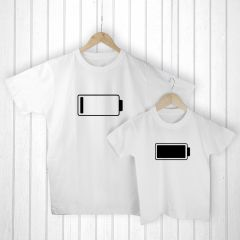 Personalised Bag with Daddy and Me Low Battery White T-Shirts