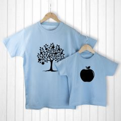 Personalised Bag with Daddy and Me Apple Blue T-Shirts