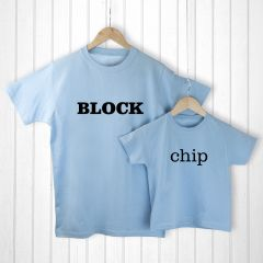 Personalised Bag with Daddy and Me Chip off the Old Block Blue T-Shirts