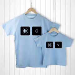 Personalised Bag with Daddy and Me Command+V Blue T-Shirts