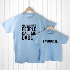 Personalised Bag with Daddy and Me Favourite People Blue T-Shirts