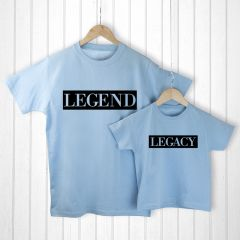 Personalised Bag with Daddy and Me Legendary Blue T-Shirts
