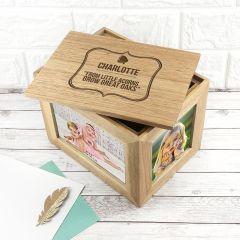 Personalised Little Acorn Midi Oak Photo Cube Keepsake Box