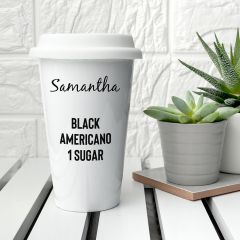 Personalised Name & Order Detail Ceramic Travel Mug