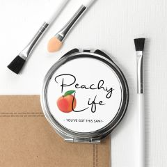 Personalised Peachy Life Round Compact Mirror