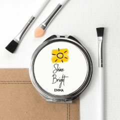 Personalised Shine Bright Round Compact Mirror