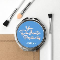 Personalised Radiate Positivity Round Compact Mirror
