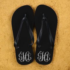 Monogrammed Flip Flops in Black and White