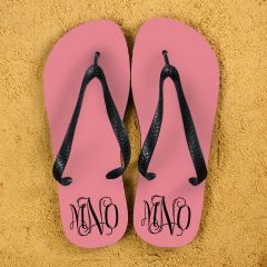 Monogrammed Flip Flops in Pink and Grey